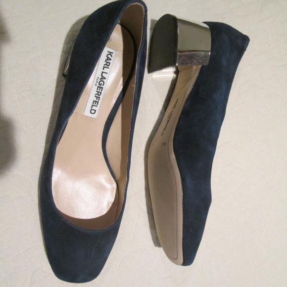 a3db518d5ef4 Karl Lagerfeld Shoes   Navy Blue Suede Silver Heel   Poshmark